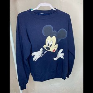 Disney Sweaters - Vintage Disney Mickey Mouse  Navy Sweatshirt Sz. M